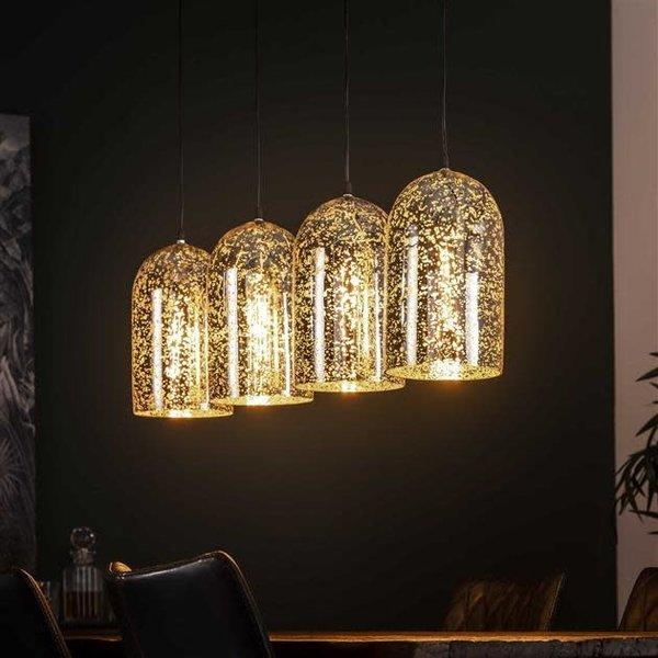 Hanglamp 4L kelk metallic glass / Oud zilver