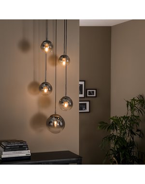 Hanglamp 5L bubble shaded getrapt