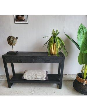 Sidetable Zwart mango met 2 lades en onderblad