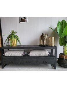 TV meubel Industrial Zwart Mango met 3 lades