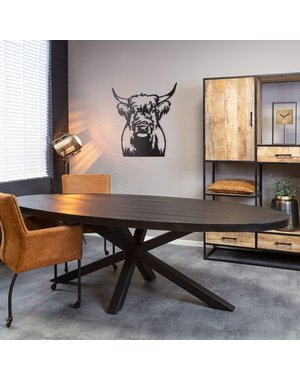 Starfurn Eetkamertafel Denver   Ovaal   Zwart Mangohout   210 cm