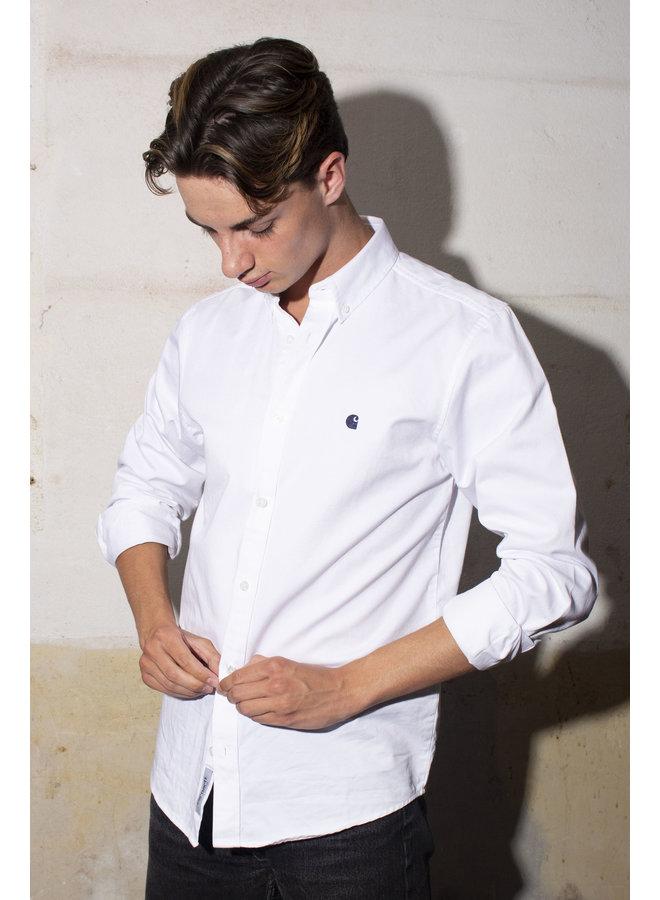 Carhartt - Madison Shirt L/S White/Dark Navy