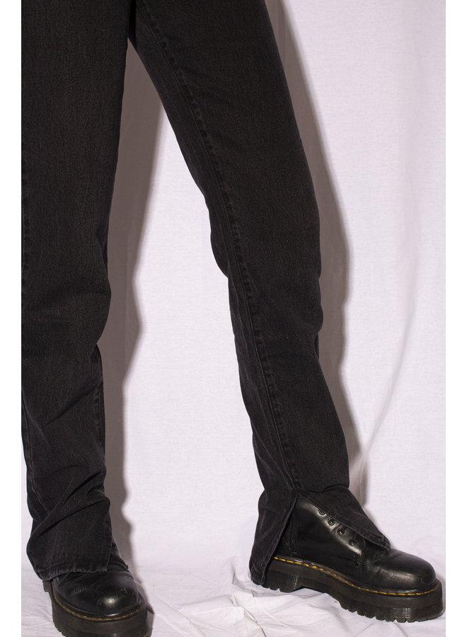 STRAIGHT LEG INSIDE SPLIT JEANS BLACK