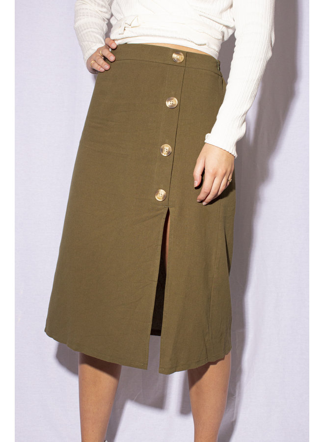24Colours - Button Skirt - Green (70490b)