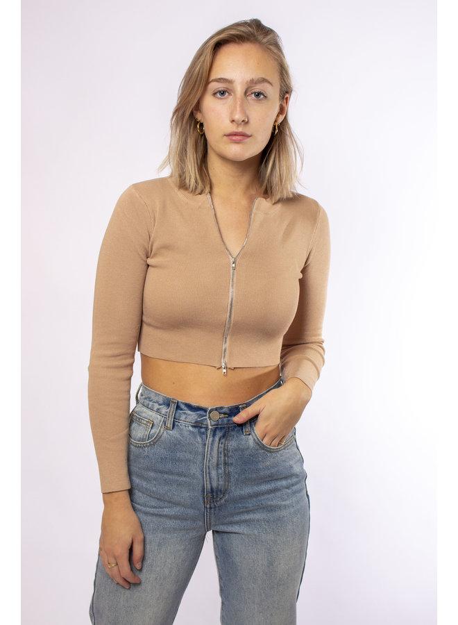 Zip - up Cropped Vest - Beige