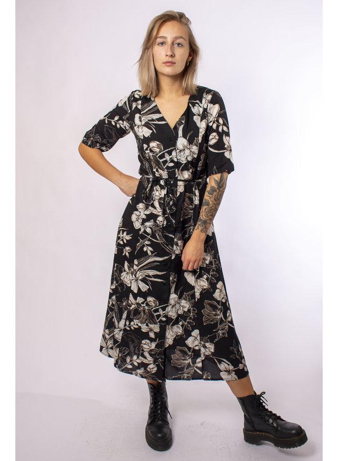 TilTil - Feline Flower Dress - Black