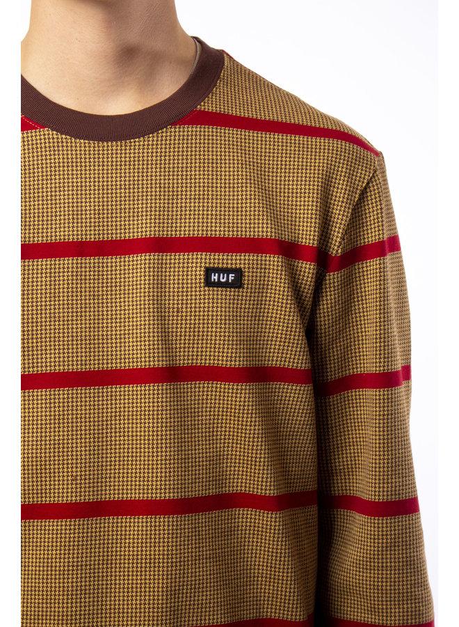 HUF - Houndstooth Stripe L/S Knit - Deep Mahogany