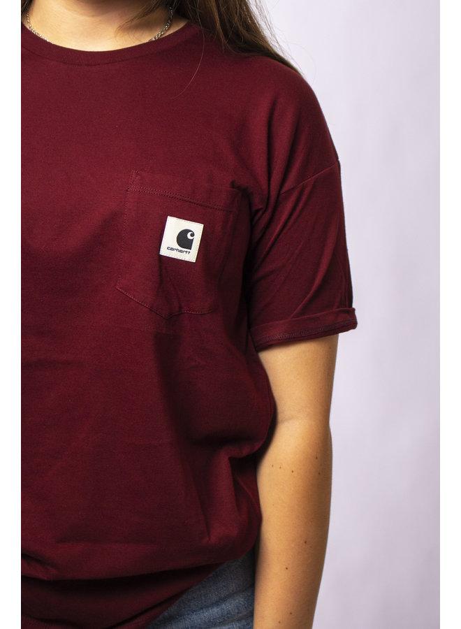 W' S/S Carrie Pocket T-Shirt-Bordeaux