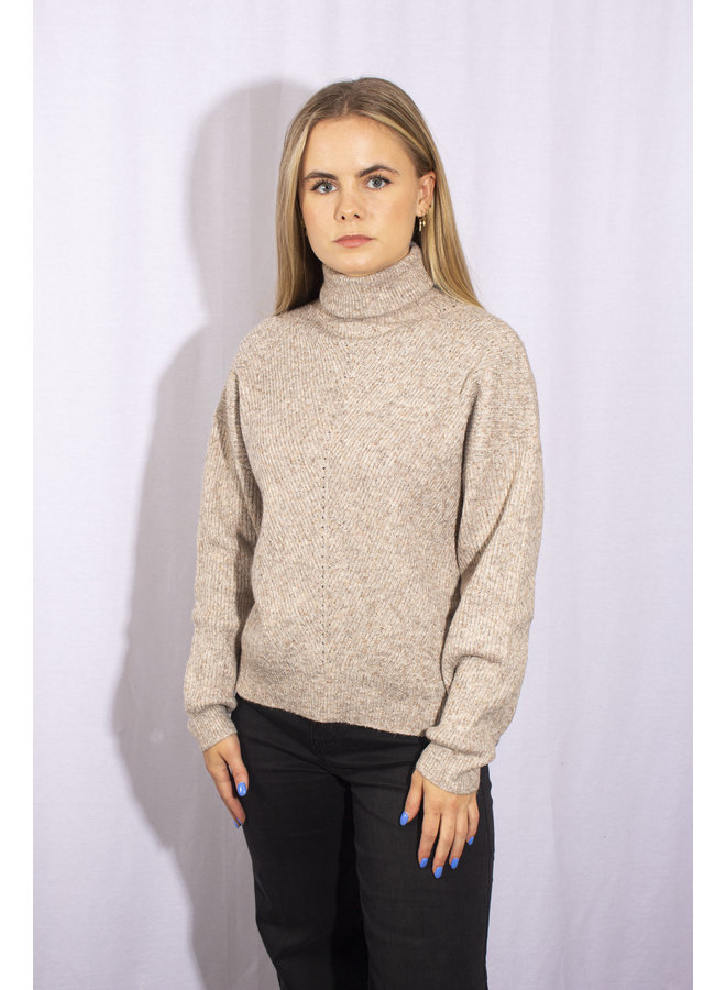 24 Colours - Roll Neck Sweater - Beige - 40744a