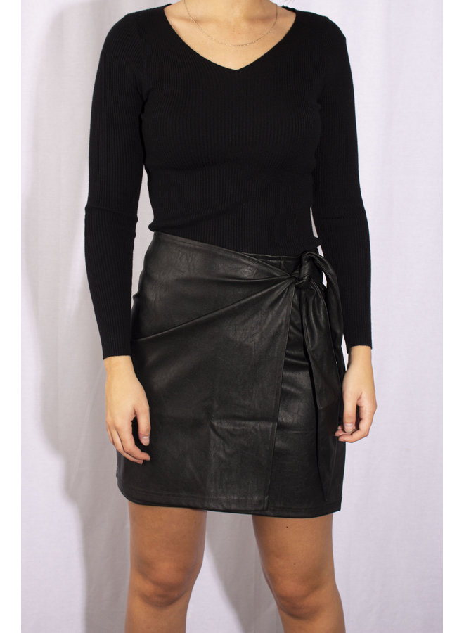 Leather Wrap Skirt - Black