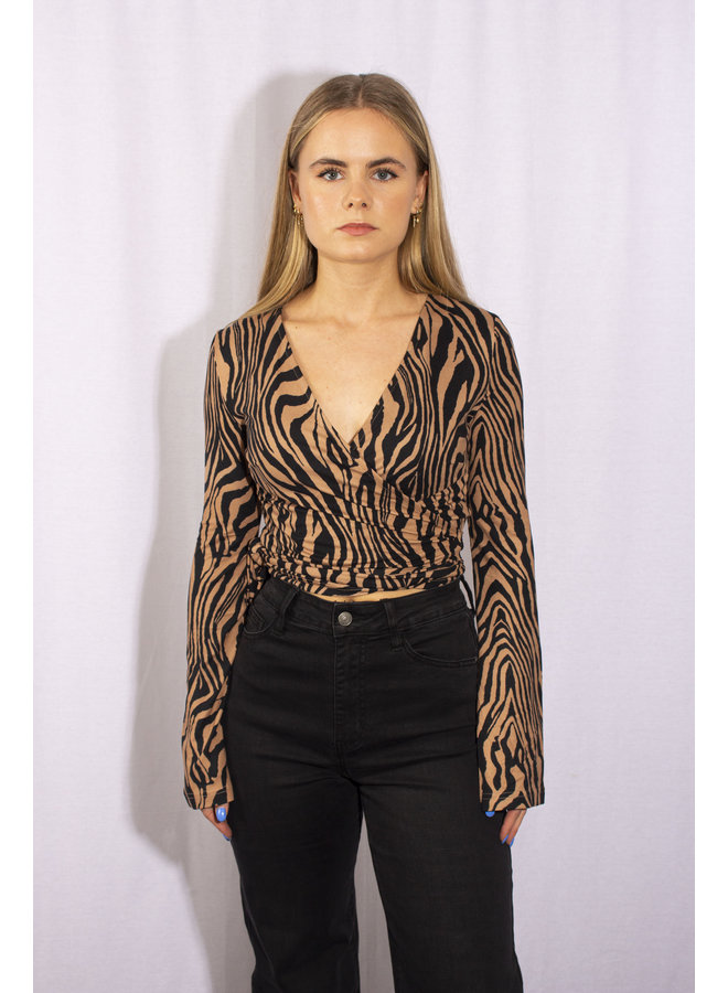 Zebra Wrapped Top - Brown