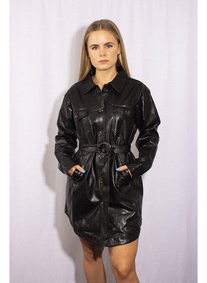 Leatherlook Dress - Black