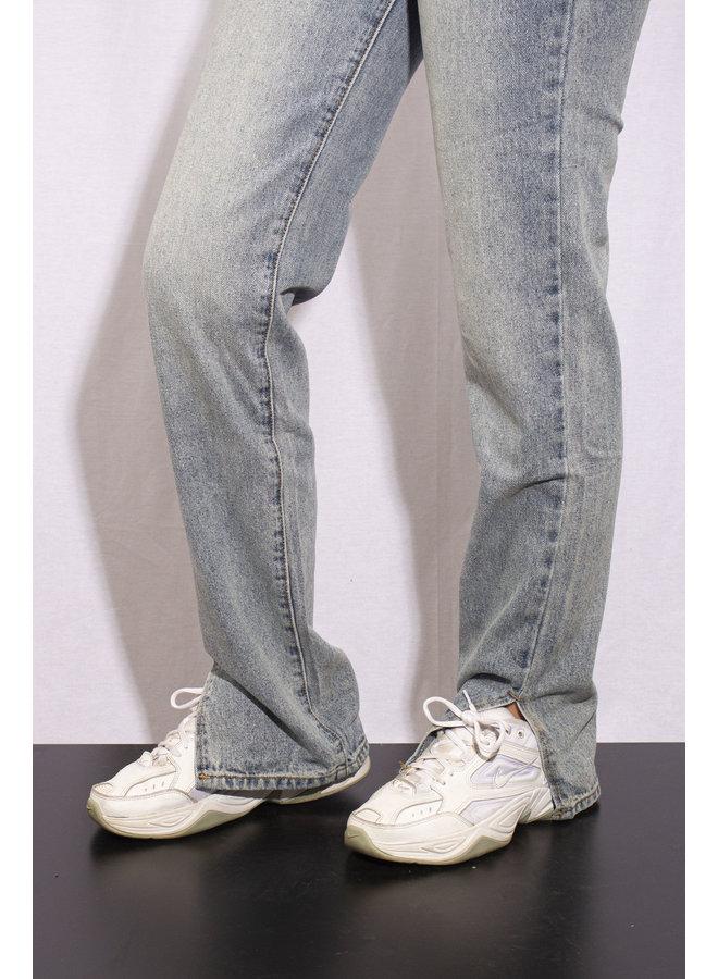 Olly Straight Leg Outside Split Jeans - Blue