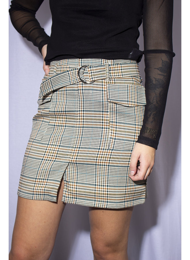 24Colours - 70512 - Checked Skirt - Petrol