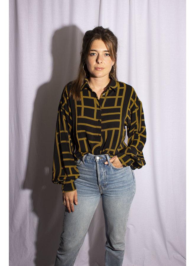 Rut&Circle - Maya Shirt Black/Yellow
