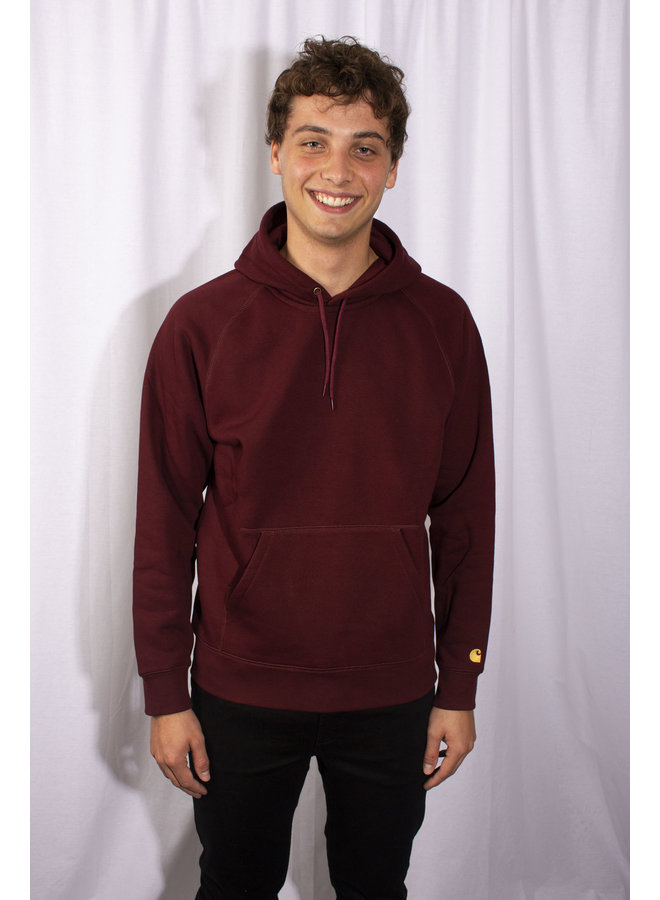 Carhartt - Hooded Chase Sweat -Bordeaux/ Gold