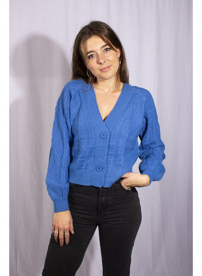 Cable Knit Vest - Cobalt Blue