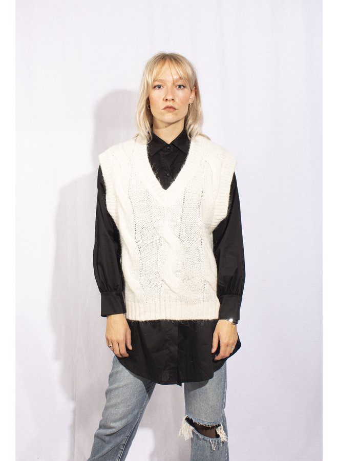 Cable Knit Spencer - Beige