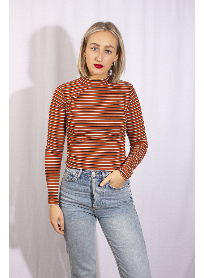 24Colours - Striped Longsleeve Brown (11432a)
