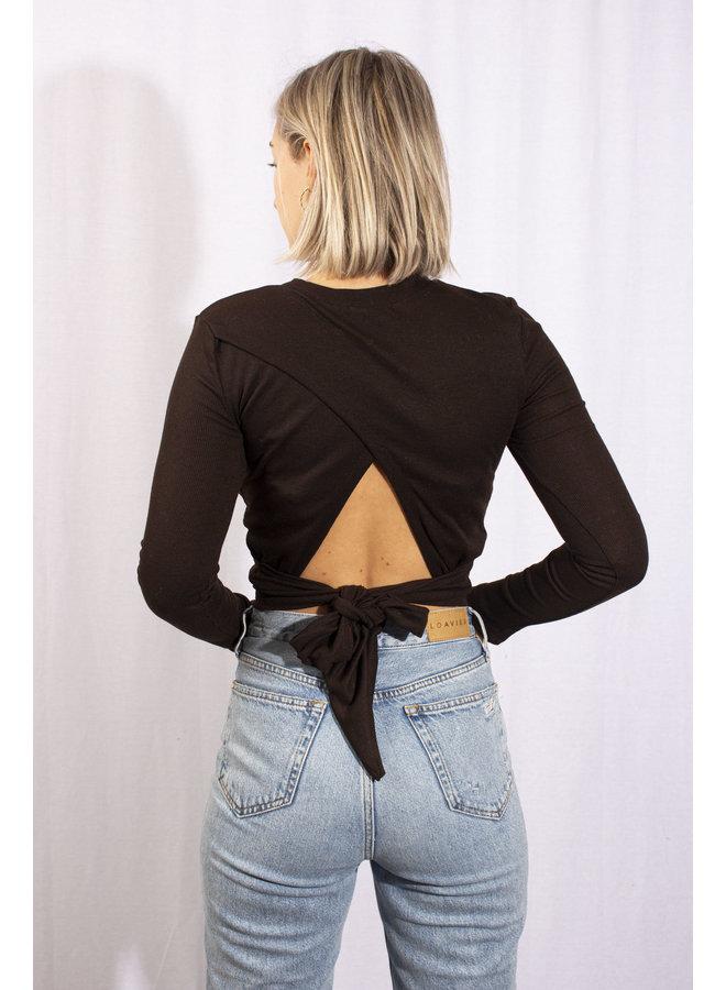 Rut & Circle - Maria Open Back Top - Dark Brown