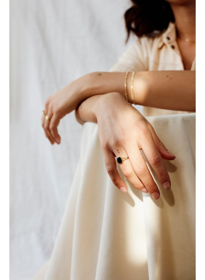 Flawed - Black Oval Ring - Gold