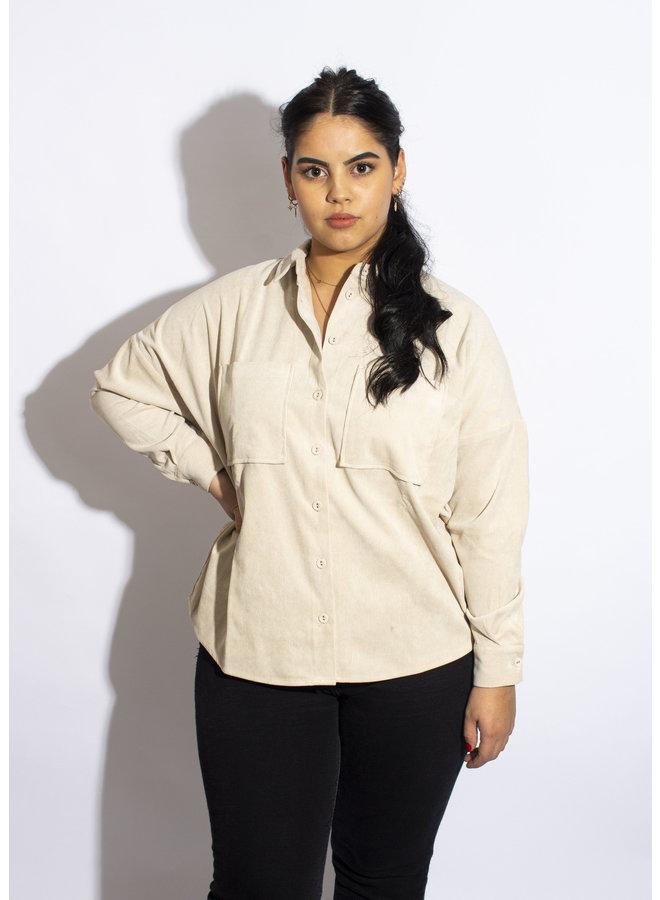 24 Colours - Corduroy Shirt Beige - 30253
