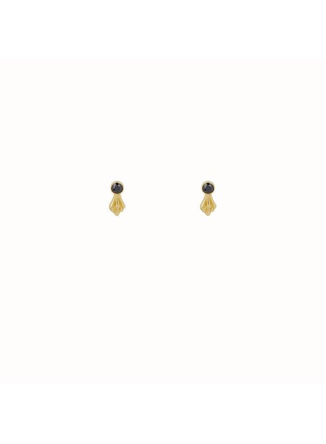 Flawed - Black Ornamental Studs - Gold Plated