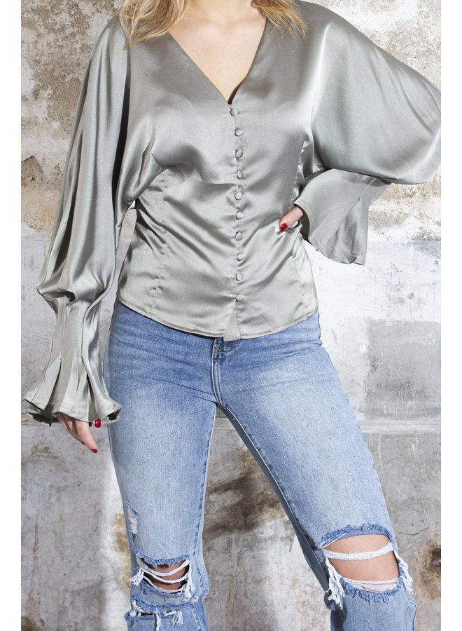 Rosie Satin Blouse - Khaki