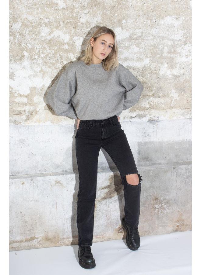 Straight Leg Jeans Ripped - Black