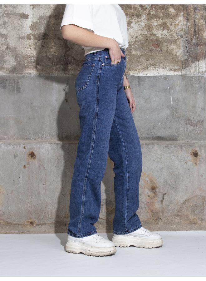 Vintage Washed Wide Leg Jeans - Blue