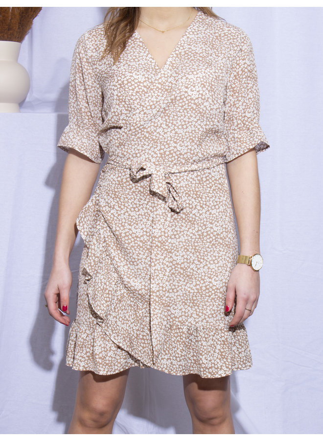 Rut & Circle - Britney Wrap Dress - Light Brown Flower