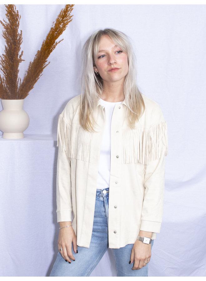 Rut&Circle - Stefanie Fringe Jacket - Light Beige