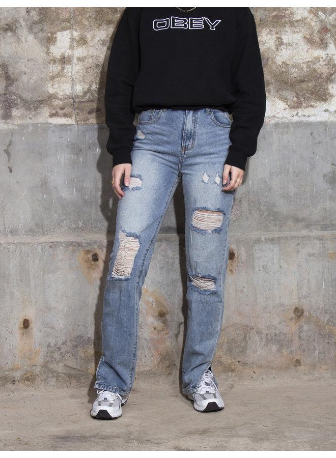 Ragged Split Jeans - Mid blue