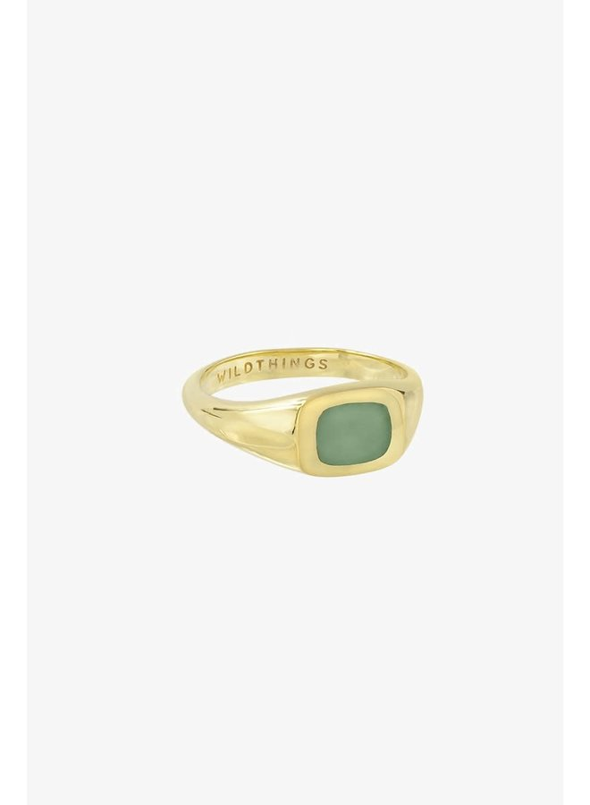 WILDTHINGS - Chunky Sea Signet Ring - Gold Plated