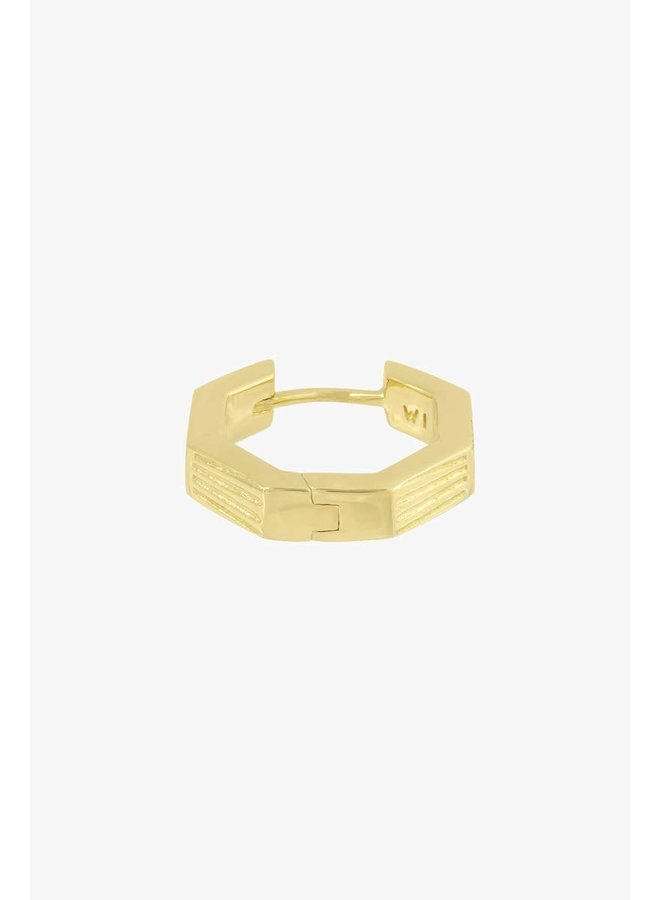 WILDTHINGS - Hexagon Huggie - Gold Plated (Per Piece)