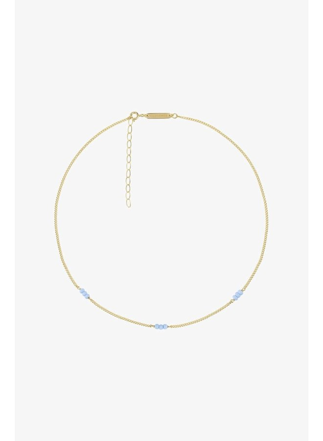 WILDTHINGS - Triple Blue Beads Necklace - Gold Plated