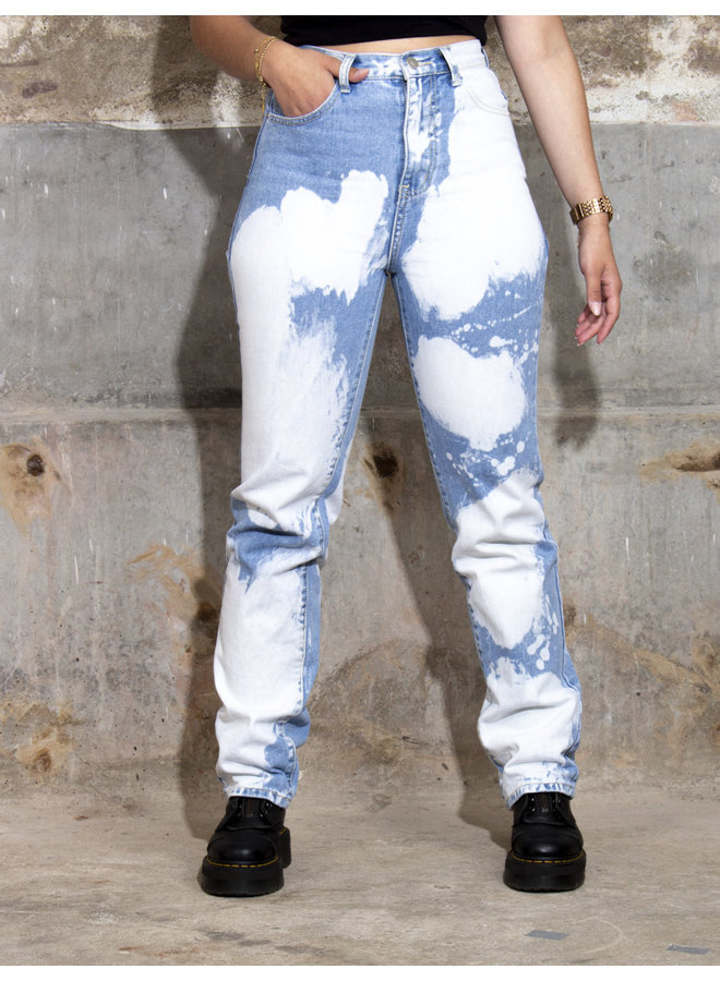 Tie Dye Straight Leg Jeans - Blue Denim