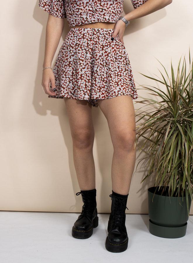 24COLOURS - Flower Shorts - Rust (60531b)
