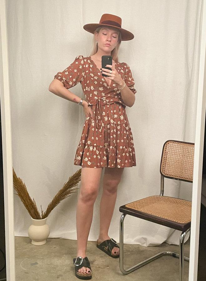 24COLOURS - Brown Flower Dress (20823a)