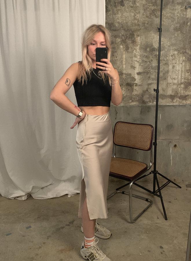 Satin Skirt - Beige