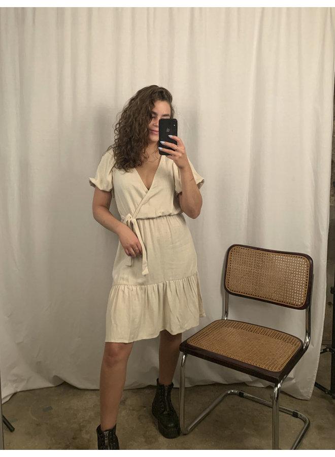 24COLOURS - Dress Linnen Beige ( 20842A)