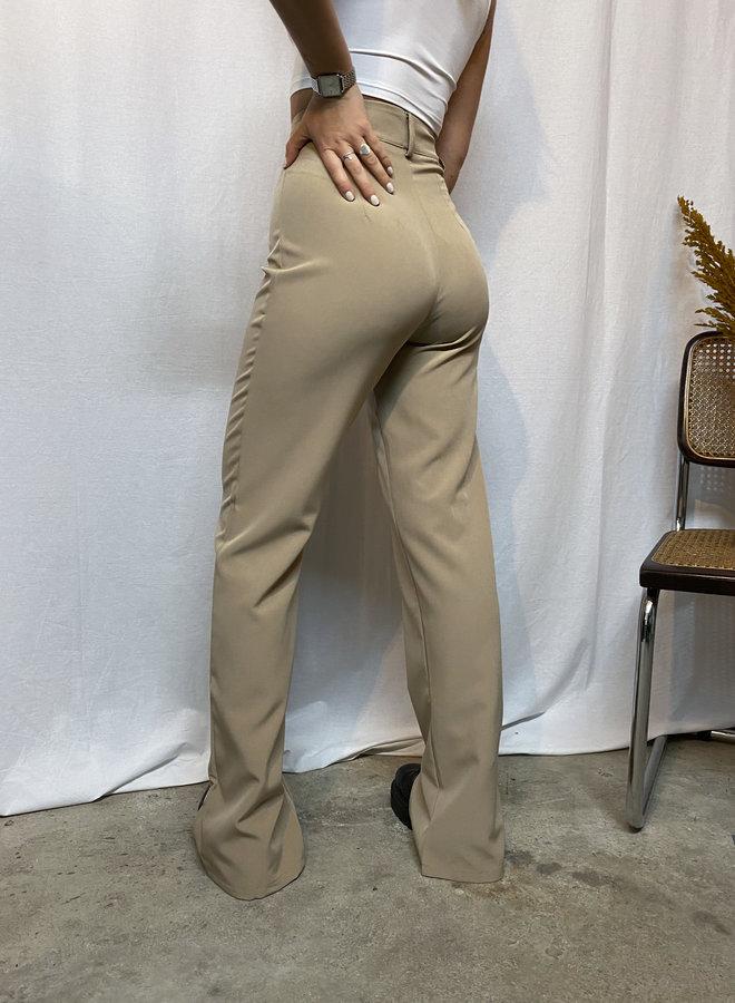 COLLECTION - Janine Split Pants - Beige