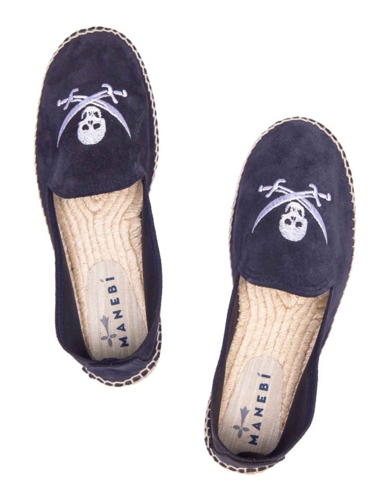 MANEBI Slippers P Blue + White Skull Suede Palm Springs