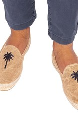 MANEBI Espadrilles - Palm Springs - Beige avec Blue Palm