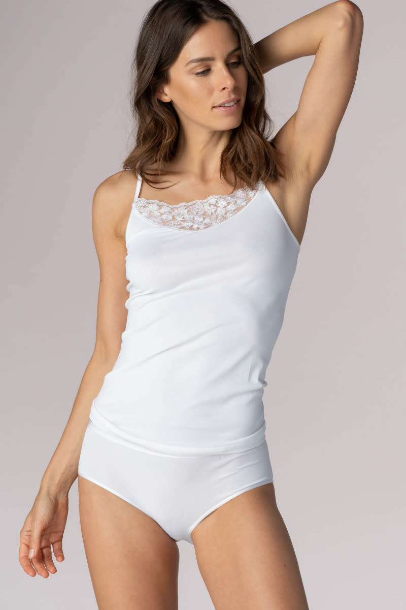 Spaghetti Top met kant Emotion Silhouette 55250 - wit-1