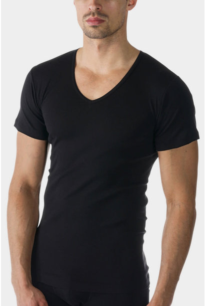 T-shirt v-hals Casual Cotton 49107 - zwart