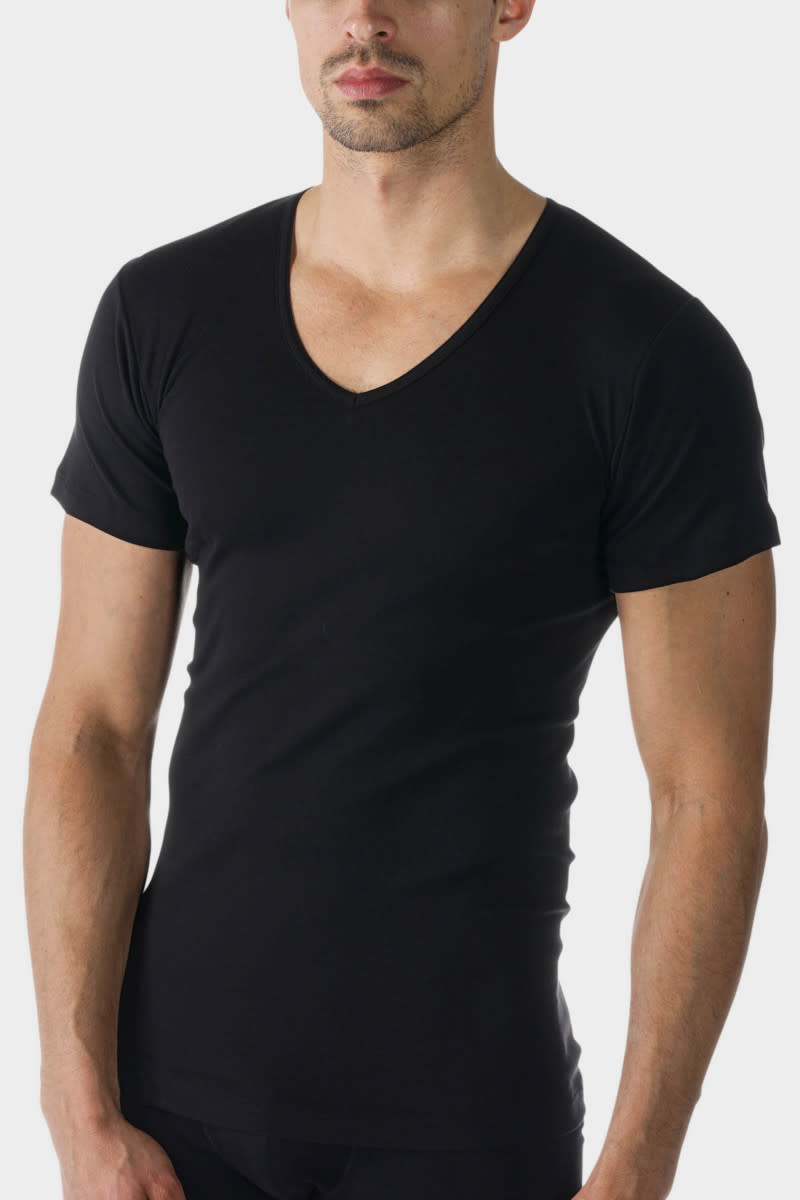 T-shirt v-hals Casual Cotton 49107 - zwart-1