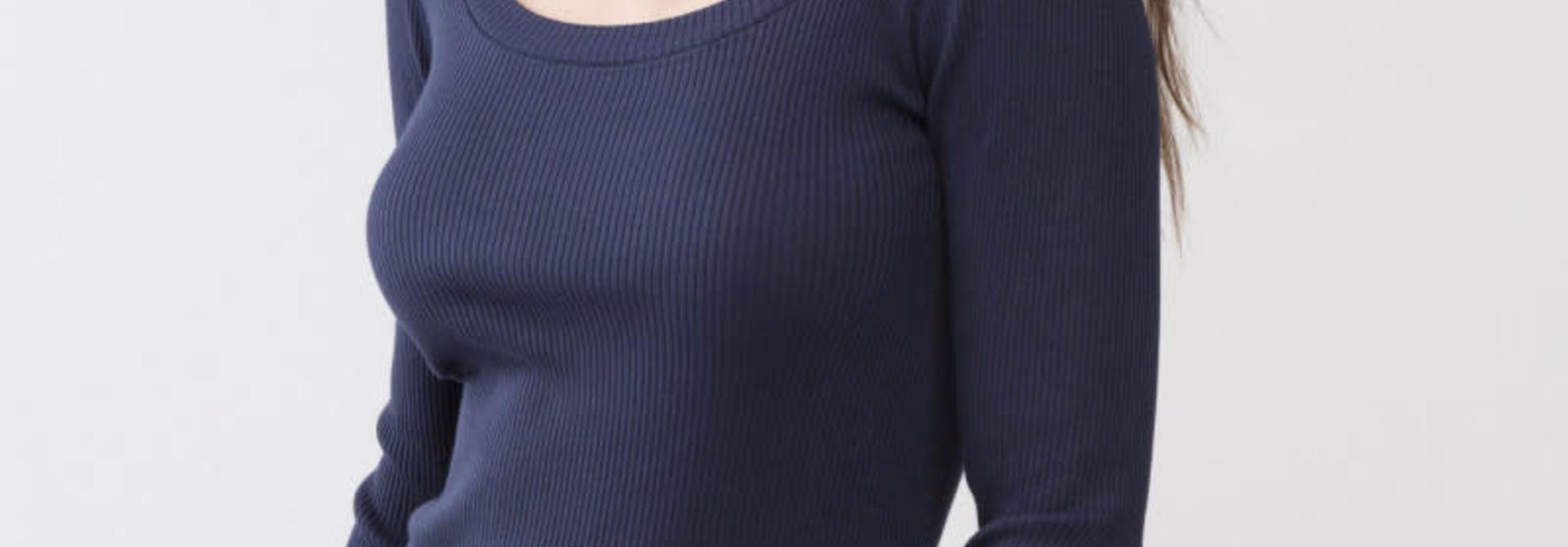 T-shirt lange mouw Cotton Rib 26516 - donkerblauw
