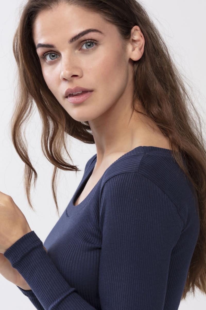 T-shirt lange mouw Cotton Rib 26516 - donkerblauw-3