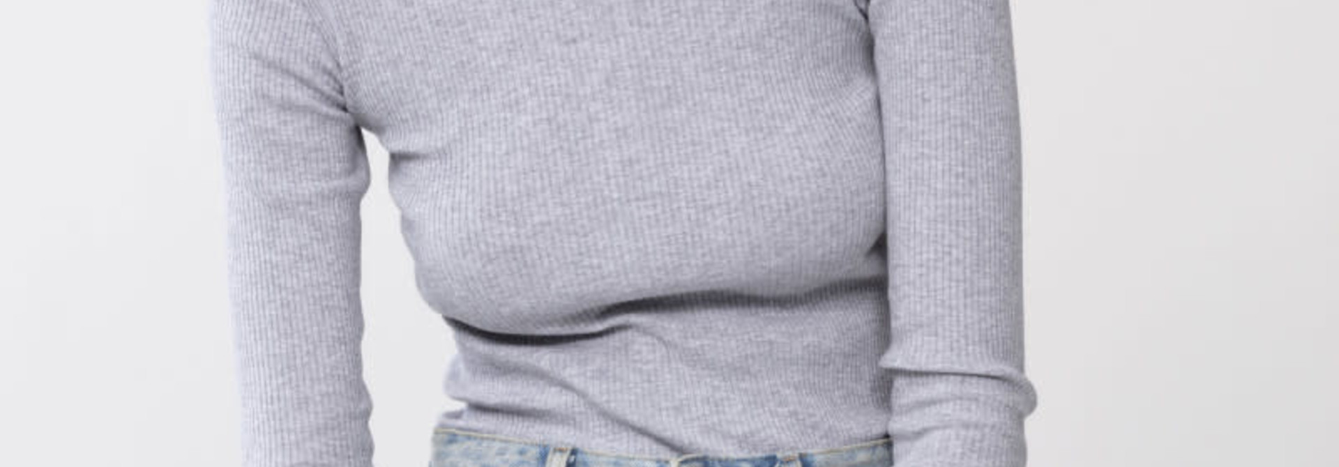 T-shirt lange mouw Cotton Rib 26516 - grijs